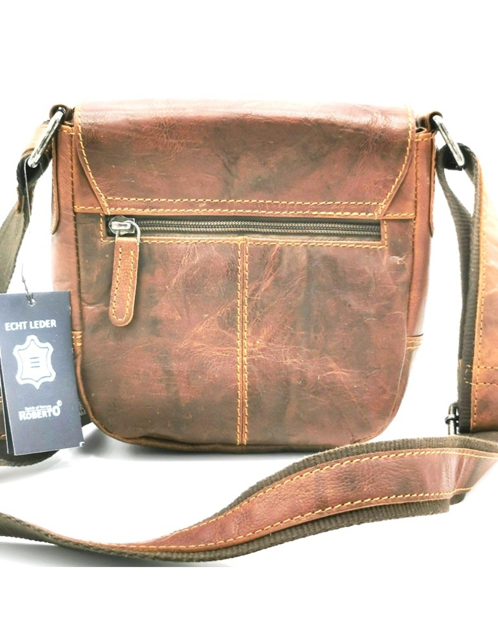 Roberto Leather Shoulder bags  Leather crossbody bags - Leather shoulder bag Roberto with cover and sliding clasp