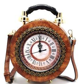 Magic Bags Handbag with Real Clock light brown (medium)