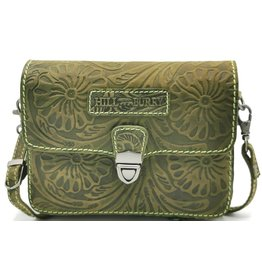 HillBurry Leather shoulder bag with Flower pattern HillBurry (green)