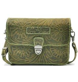 HillBurry Leren schoudertasje met Bloemenmotief HillBurry (groen)