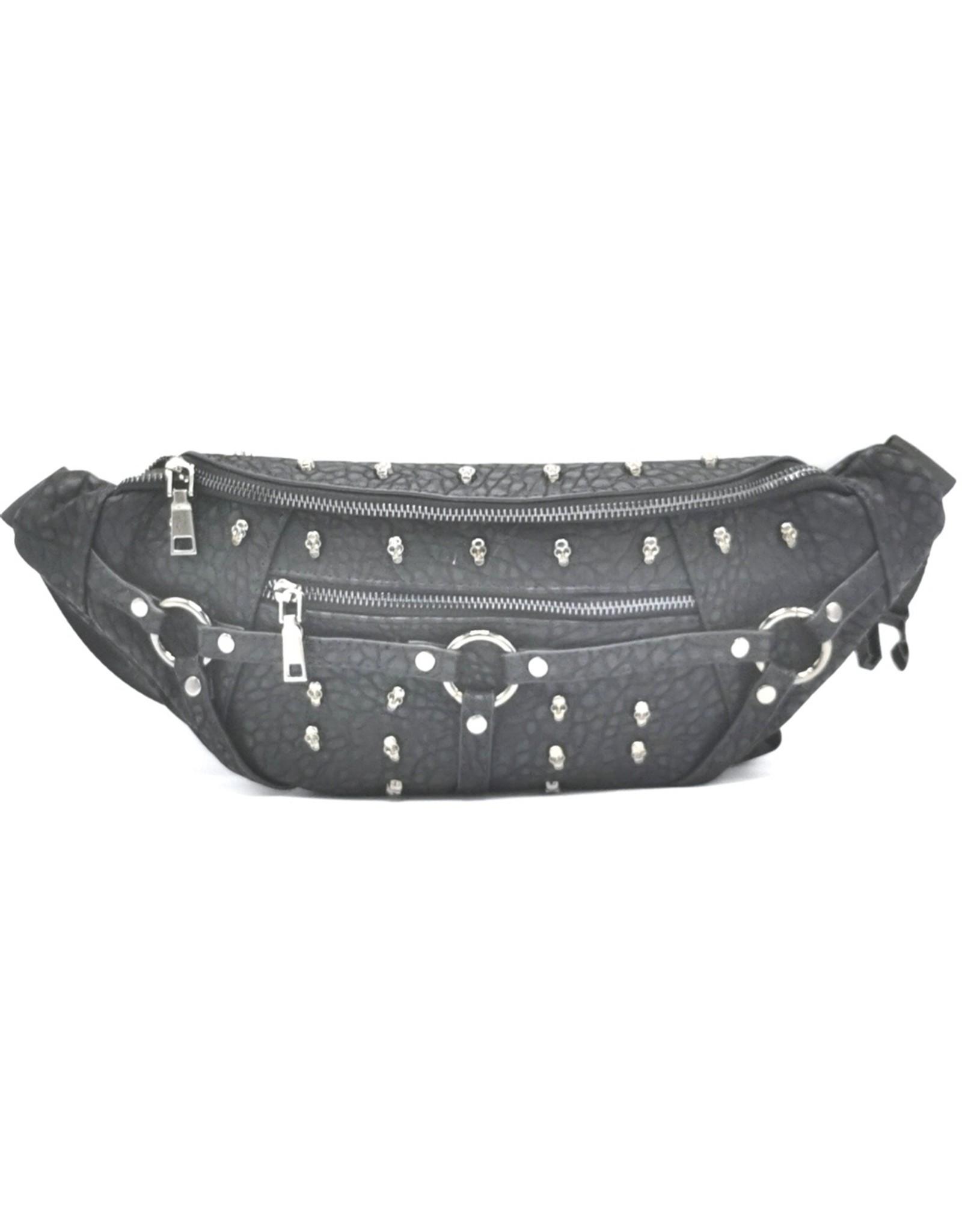 Dark Desire Gothic tassen Steampunk tassen -  Gothic heuptas met kleine metalen schedels
