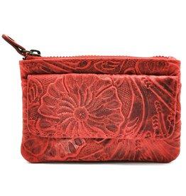 HillBurry Leren Sleutelhoesje met Bloemen reliëf (rood)