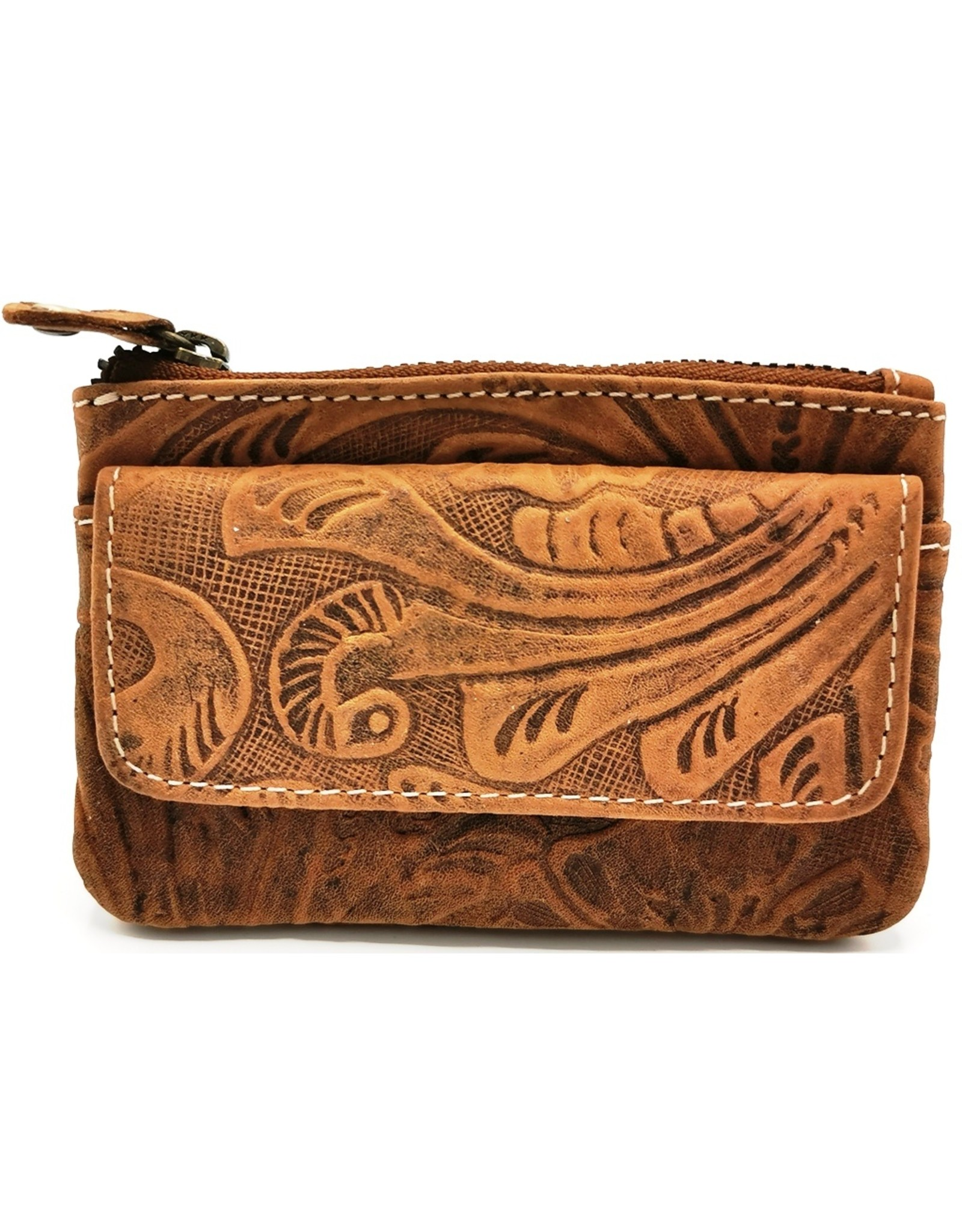 HillBurry Leather Wallets -  Leather key case with embossed flowers (tan)