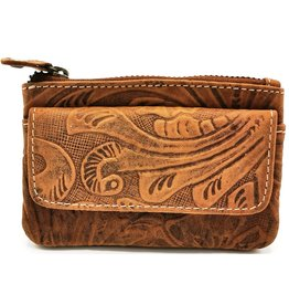 HillBurry Leather key case with embossed flowers (tan)