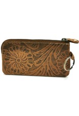 HillBurry Leather Wallets - Leather key case with embossed flowers (brown)