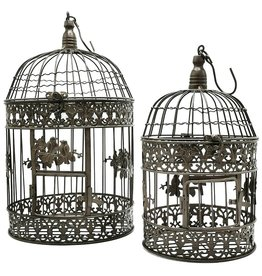 Trukado Metal Bird Cage Vintage Look (round) - Set of 2