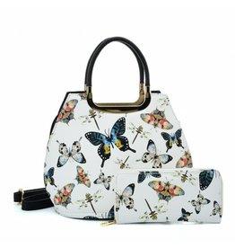 Trukado Handtas met vlinders Butterfly wit