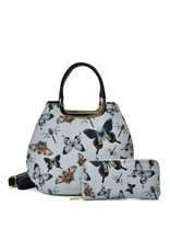 Trukado Modieuze tassen - Handtas met vlinders Butterfly grijs