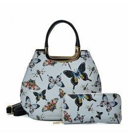 Trukado Handtas met vlinders Butterfly grijs