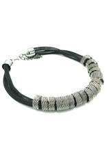 Trukado Sieraden - Gevlochten design halsketting zilverzwart, nikkelvrij