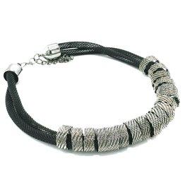 Trukado Braided design necklace silver-black, nickel-free