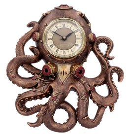 Alator Steampunk Octopus Wandklok  Octoclok - 26cm