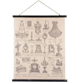 Trukado Wandkaart Antiquariaat - textiel 79cm x 110cm