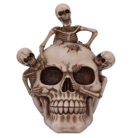 Alator Breaking Free Skelet komt uit schedel ornament