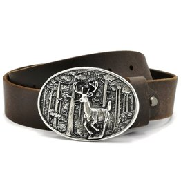 Acco Leather belt with buckle Deer - Heavy quality