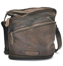 HillBurry HillBurry Crossbody bag Washed Leather Choco Brown