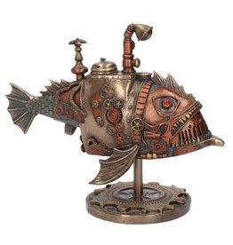 Veronese Design Steampunk Submarine Sub Piranha gebronsd beeld