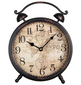 Trukado Steampunk Table Clock with World Map on the Dial