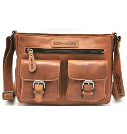 HillBurry HillBurry Leather Shoulder Bag with Two Separate Compartments