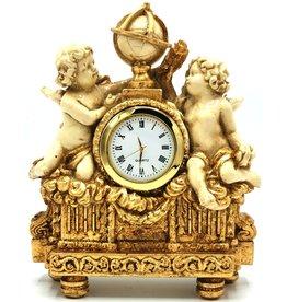 Trukado Tafelklok Barok stijl Cherubijnen creme-goud