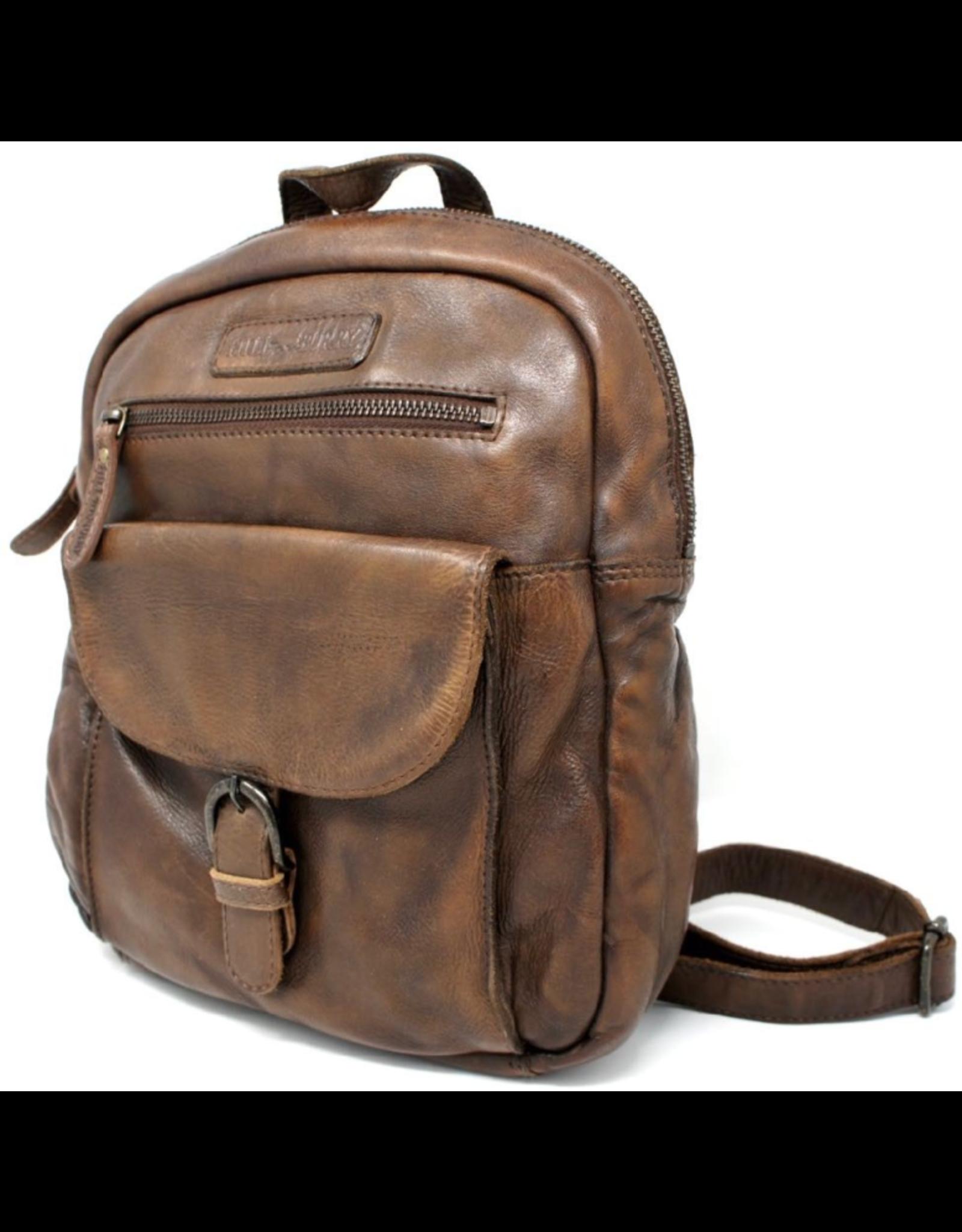 HillBurry Leren rugzakken en leren shoppers - HillBurry Rugzak Gewassen leer bruin