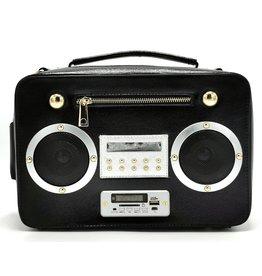 Magic Bags Boombox Radio Handtas met Echte Radio zwart