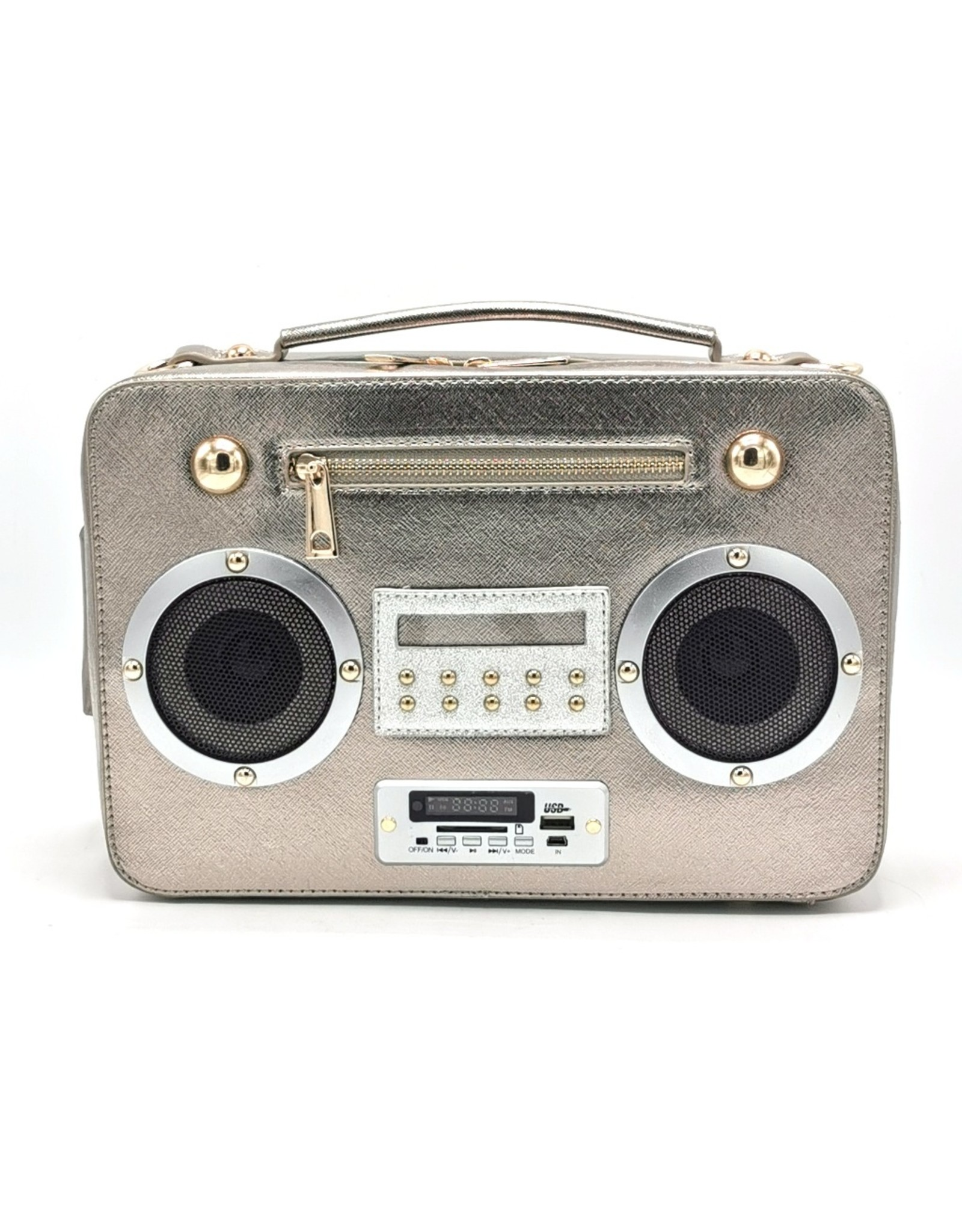 Magic Bags Fantasy tassen en portemonnees - Boombox Radio Handtas met Echte Radio zilver