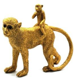 Trukado Gouden Aap met Baby op de rug beeld 31cm