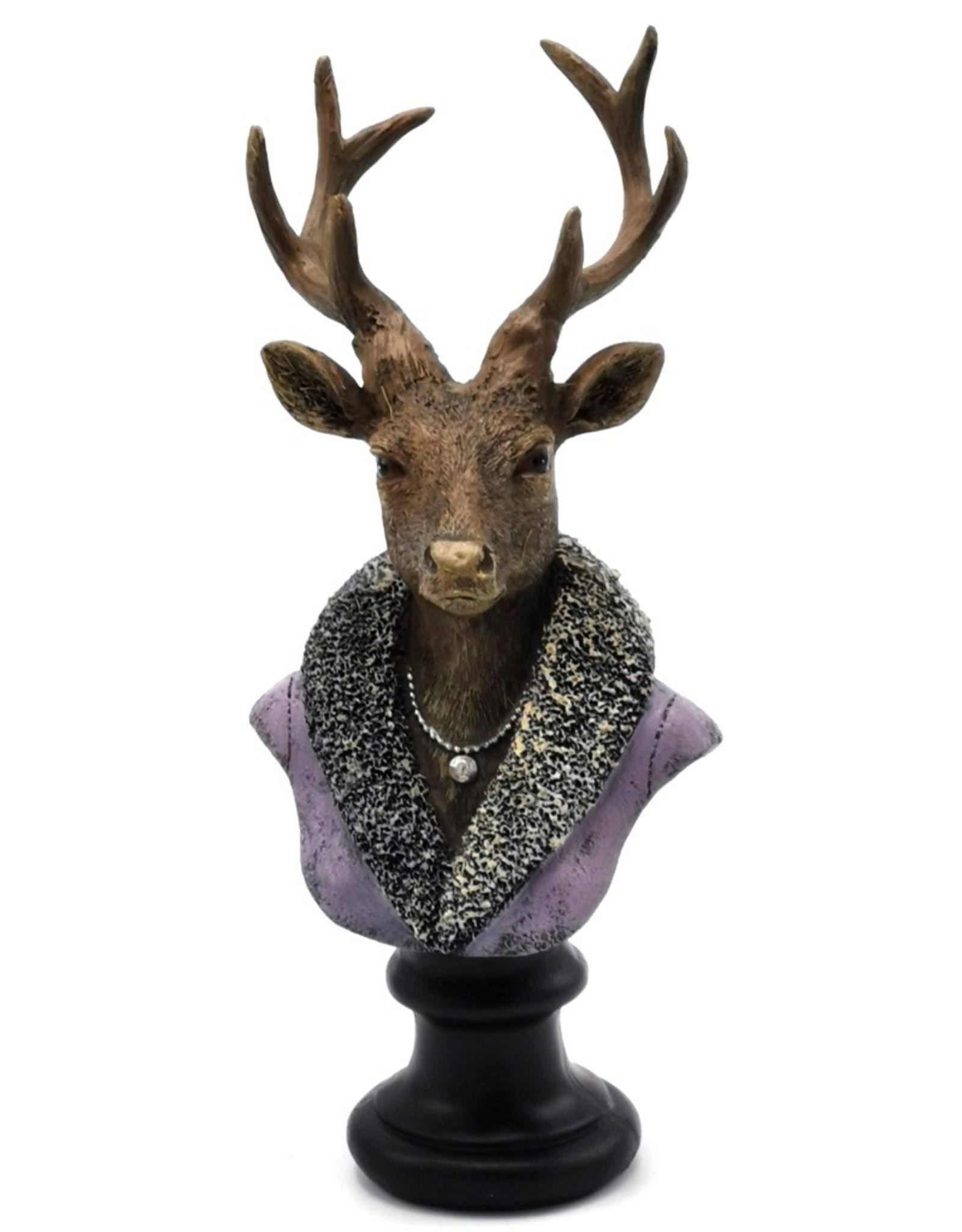 C&E Giftware & Lifestyle - Hert Buste gekleed als Dame 21cm