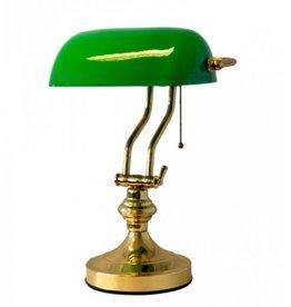 Trukado Notarislamp met groene glazen kap (messing gepolijst)