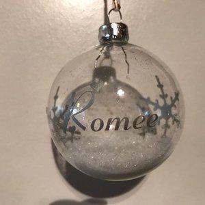Glazen Kerstbal met naam of kleine tekst