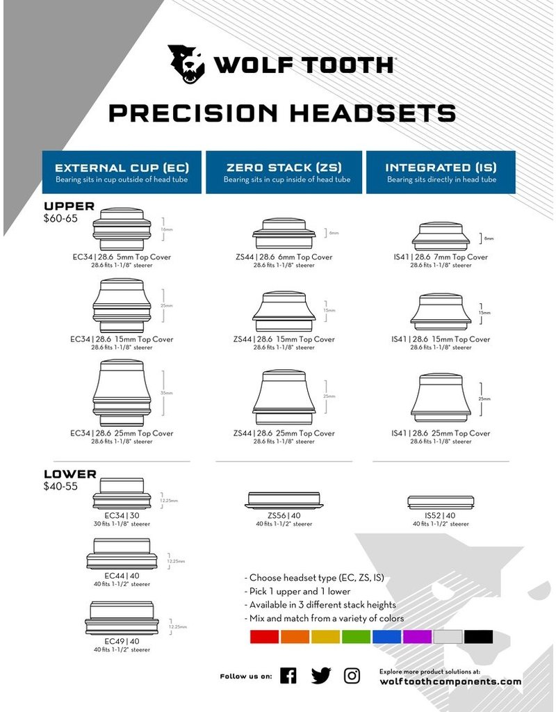 Wolf Tooth Components Wolf Tooth Performance IS Headsets - Integrated Standard LOWER