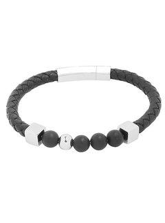 Herenarmband Leather and Beads Zwart