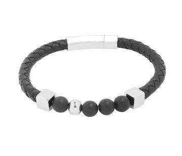 Kywi Jewelry Herenarmband Leather and Beads Zwart