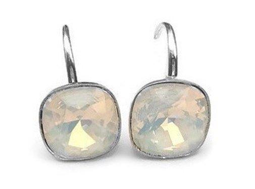 Kywi Jewelry Oorbel 925 zilver Globe Swarovski white Opal