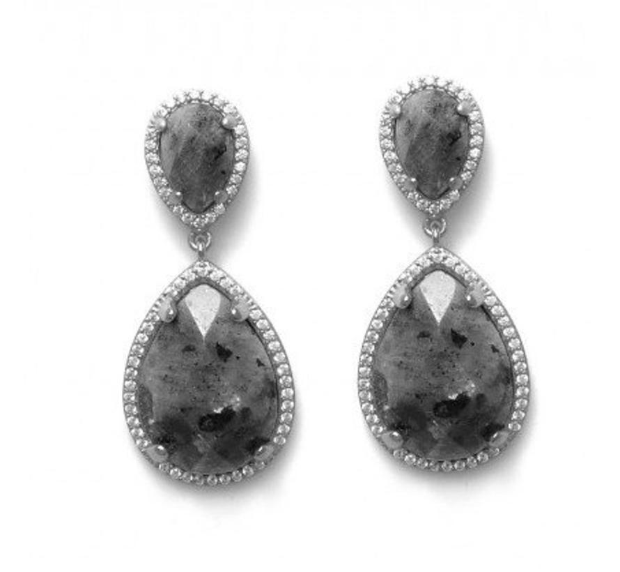 BudtoRose Oorbel Drop Large ear silver Marble
