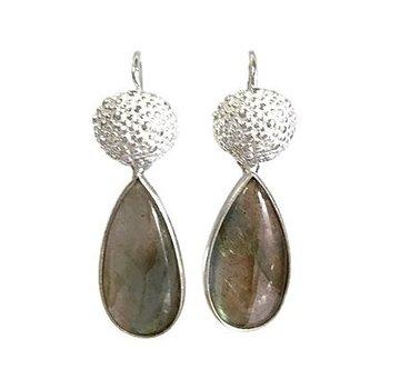 Kywi Jewelry Oorbel Labradoriet Drop 925 zilver