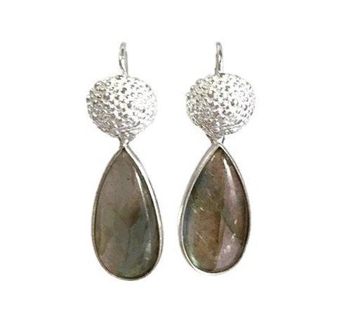 Kywi Jewelry Oorbel LOT Labradoriet Drop 925 zilver