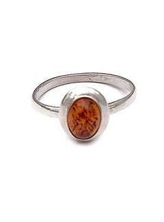 Kywi Jewelry Ring Barnsteen 925 zilver-18.5 mm