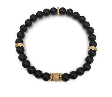 Kywi Jewelry Armband Iced Jaspis Zwart Vermeil goud