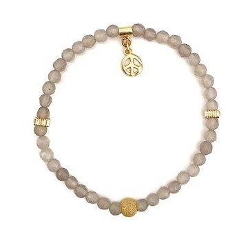 Kywi Jewelry Armband Grey Agaat Vermeil goud