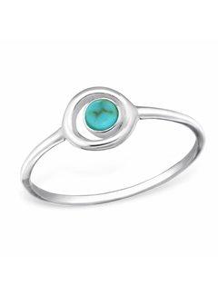 Ring Cirkel Turquoise 925 zilver