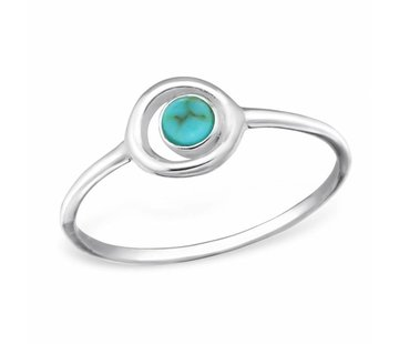 Kywi Jewelry Ring Cirkel Turquoise 925 zilver