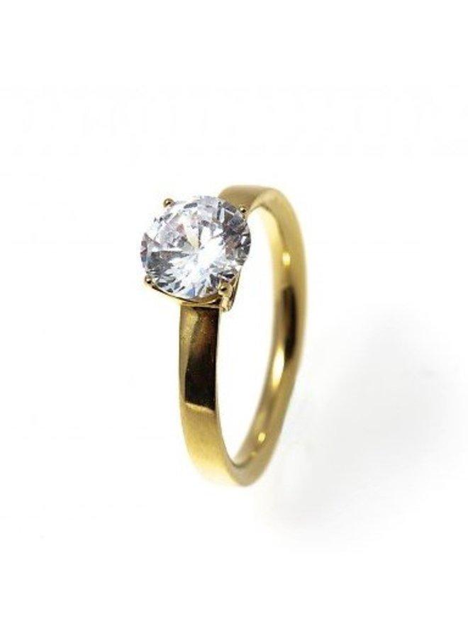 BudtoRose Ring Diamond steel Gold