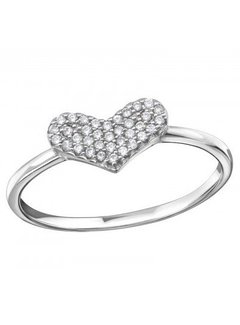 Kywi Jewelry Ring Zirkonia Heart 925 zilver