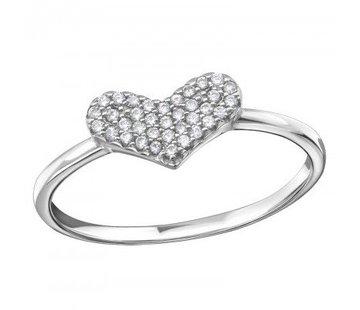 Kywi Jewelry Ring Zirkonia Heart 925 zilver