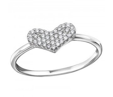Ring Zirkonia Heart 925 zilver