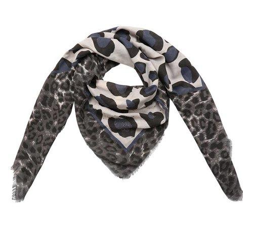 Sjaal Leopard Blauw Accent