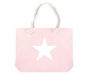 Tas Shopper Star Pink White