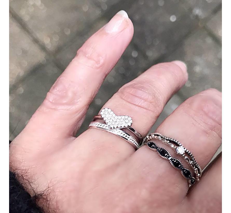 Ring Zirkonia Heart 925 zilver